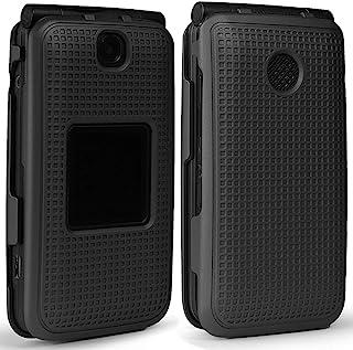 Case for Alcatel Go Flip V, Nakedcellphone [Black] Protective Snap-On Cover [Grid Texture] for Alcatel Go Flip, MyFlip 4G,...