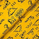 Fabrilogy Lizenz Bio Jersey Peanuts Snoopy Camping senf -