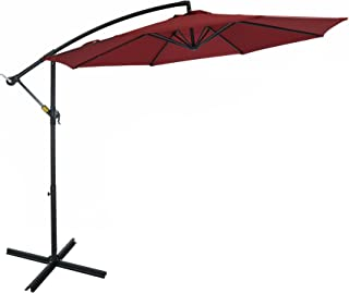Patio Watcher 10 Ft Market Offset Cantilever Aluminum Umbrella with Crank UV Resistant, 250 GSM Fabric, Air Vented Top, Red