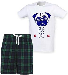 60 Second Makeover Limited Mens Pug Dad Tartan Short Pyjama Set Family Staffordshire Bull Terrier