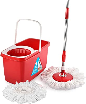 Kleeno by Cello Easy Clean 360 Degree Plastic Bucket Spin Mop with Refill Red 4 Pieces