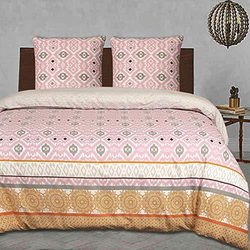 Nimsay Home Ikat - Juego de funda de edredón 100% algodón étnico marroquí, reversible, fácil cuidado, 240 x 220 cm + 2 fundas de almohada de 63 x 63 cm