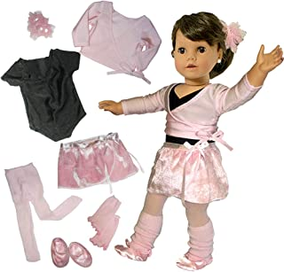 Sophia's Doll Clothing for 18 Inch Dolls, Complete 7 Pc. Doll Ballet Outfit, Fits 18 Inch American Girl Dolls, Doll Leotard, Hairpiece, Doll Sweater, Skirt, Tights, Warm Up Socks & Ballet Slippers