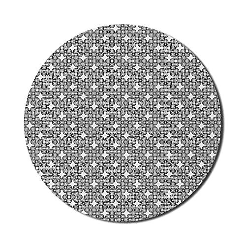 Geometrisches Mauspad für Computer, Retro-modernes Design von Minimal Whirlpool Bullseye Like Circles Print, rundes, rutschfestes, dickes, modernes Gaming-Mousepad aus Gummi, 8 'rund, weiß und anthraz