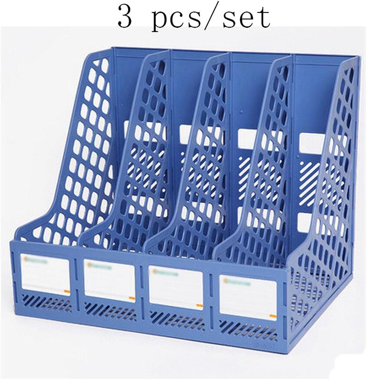 Liu Yu·Bürofläche, Bürobedarf blau Kunststoff A4 Datei Rahmen vier Spalten Datei-Box Datei Spalte Desktop-Datenspeicher Korb 3 Stück   Set B06XR9FMHR | Angemessene Lieferung und pünktliche Lieferung