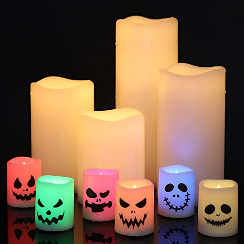 wholesale Eldnacele Waterproof Flameless Flickering Candles wholesale with 6 Hours Timer and lowest Halloween Flameless Candles Color Changing LED Tea Lights Candles online