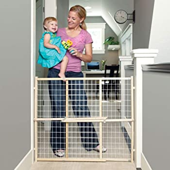 """Toddleroo by North States 50"""" Wide Extra Wide Wire Mesh Baby Gate: Installs in Extra Wide Opening in Second Without damaging Wall. Pressure Mount. Fits 29.5""""-50"""" Wide (32"""" Tall, Sustainable Hardwood)"""