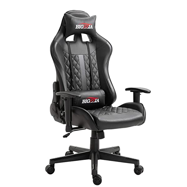 B07wd975dtcheap Bigzzia Gaming Chair Ergonomic Home Office Chairs Adjustable High Back Swivel Pu Leather Racing Computer Desk Chair With Lumbar Support And Headrest Black Freeshipping Kotakstore123