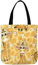 InterestPrint Funny Cute Baby Fox Face Canvas Tote Bag Handbag for Women