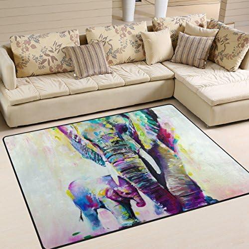 LORVIES Elephant Painting Area Rug Carpet Non Slip Floor Mat Doormats for Living Room Bedroom product image