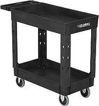 "Industrial Service & Utility Cart, Plastic 2 Shelf Tray Black, 38"" x 17-1/2"", 5"