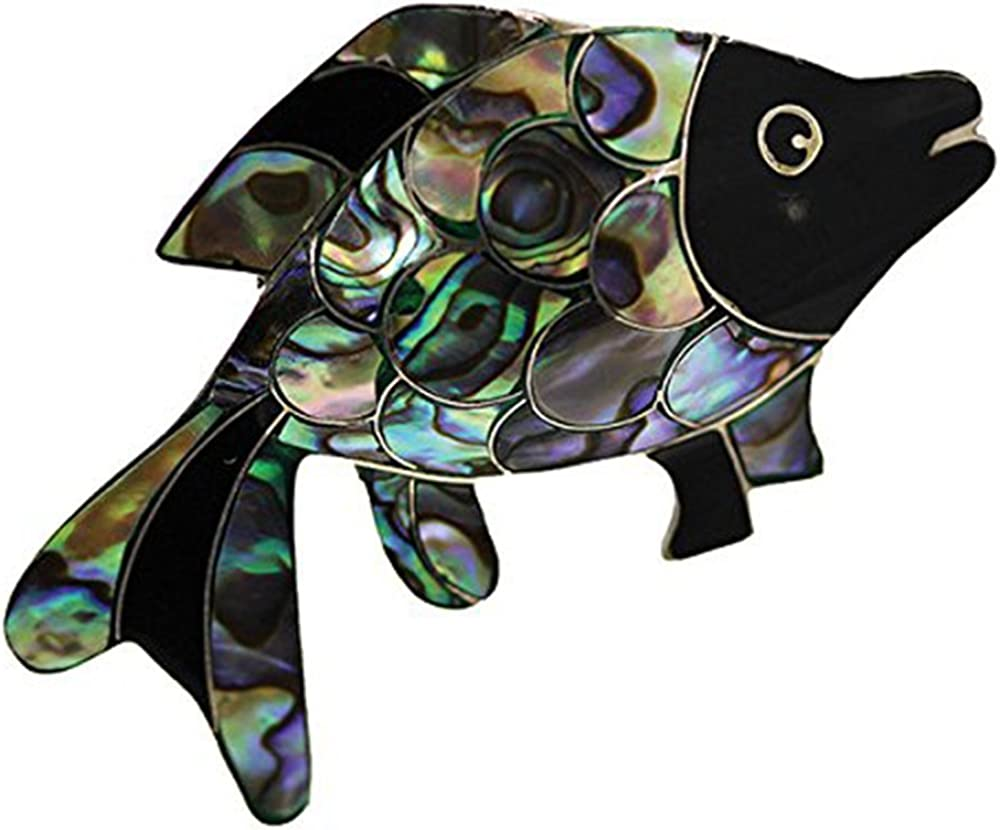 Sterling New York Luxury goods Mall Silver Abalone Fish Pin