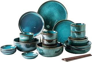 Service de Table Porcelaine en bleue, Assiettes Plate et bols, créativité moderne Vintage vaisselle en grès rond en grès r...