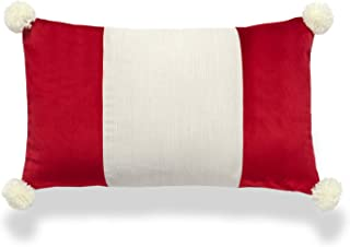 "Hofdeco Velvet Holiday Christmas Accent Lumbar Pillow Cover ONLY, Red Beige Wide Striped with Tassels, 12""x20"""