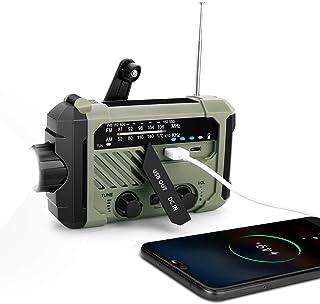 Aritan Emergency Radio AM FM NOAA Weather Alert Solar 4 Ways Powered Portable Radio with Flashlight Reading Lamp 2000mAh C...