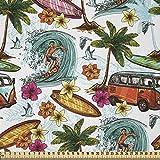 ABAKUHAUS Hawaii Stoff als Meterware, Surfer Thema Wellen