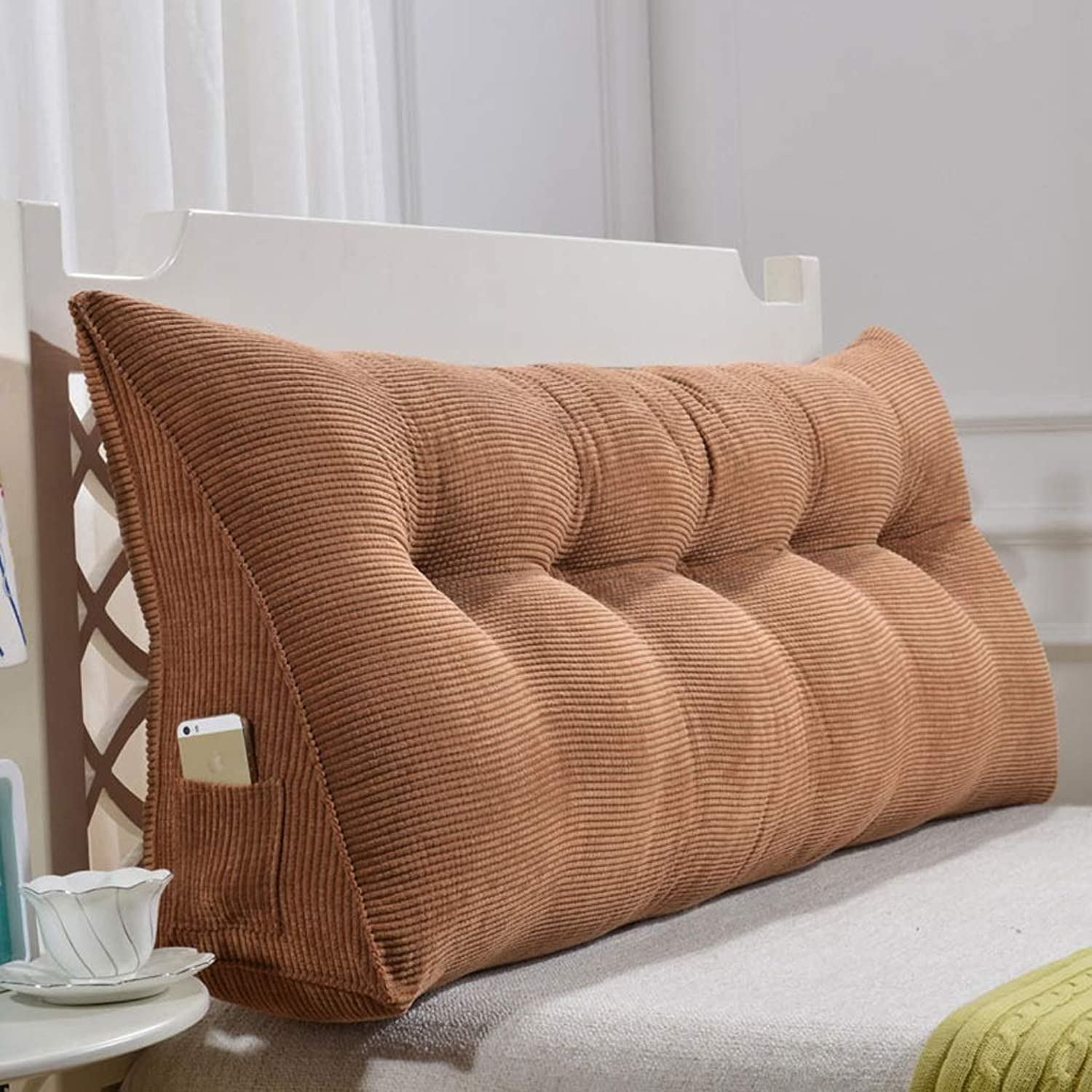 Bed Cushion Back Lumbar Support Pillow Reading Pillow for Bed Headboard Backrest Sofa Cushion Washable (color   Brown, Size   60CM)