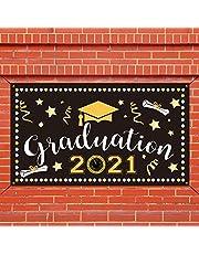 Dsaren Banner Graduacion 2021 Negro y Dorado Telon de Fondo Fotográfico de Fiesta Decoracion Photocall Graduacion