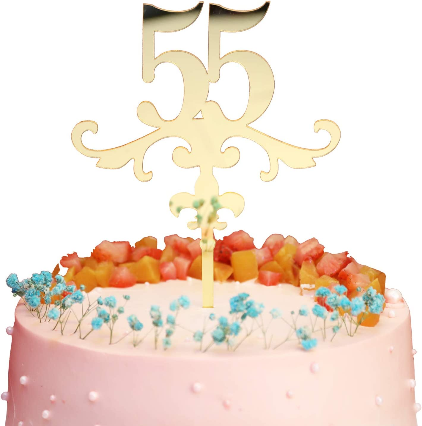 Ideal for 51th Birthday or Anniversary Celebration Mirror Gold Number 51 Cake Topper Acrylic Cake Topper