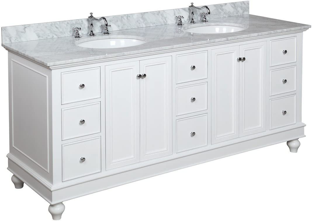 Bella 20 inch Double Bathroom Vanity Carrara/White Includes White  Cabinet with Authentic Italian Carrara Marble Countertop and White Ceramic  Sinks