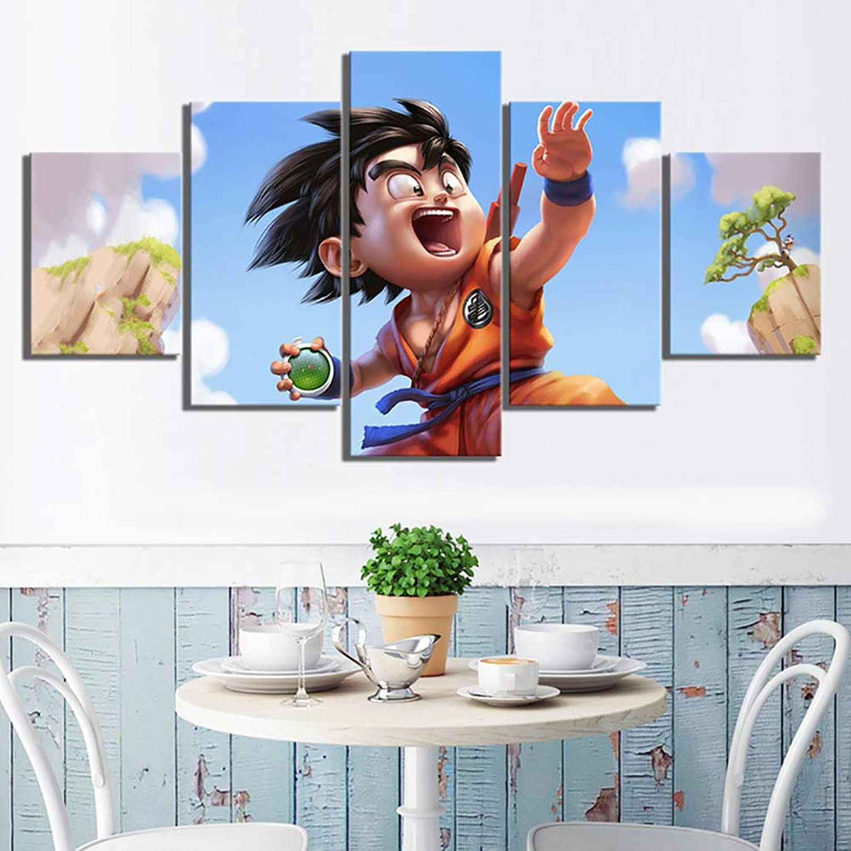 Modern Canvas HD Prints Home Decor 5 Pieces Goku Pictures Dragon Ball Posters Living Room Wall Art Paintings,B,30X40X230X60X230X80X1