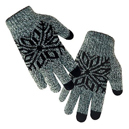LETHMIK Kids Winter Knit Gloves Children Wool Lining Warm Gloves with Touchscreen Tech Black,...
