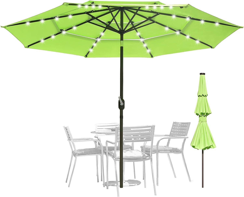 11FT Great interest 10 ft 9ft mart 3-Tiers Outdoor Umbre Patio Umbrella Market