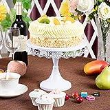 JUJOYBD Tortenplatte Vintage, Torten-Teller mit Fuß, Cupcake Ständer Display Metall-Platte für Torten Kuchen Dessert in Weiß, Ø 250 mm, Hochzeit Party Deko - 5