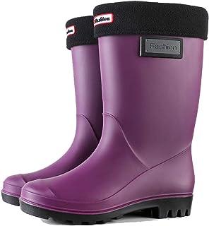 HLDJ Woimens Rain Bottes Mollet Noir Cheville Chaussure De Travail Chaussures De Jardin Confortable Chaussures De Jardin C...