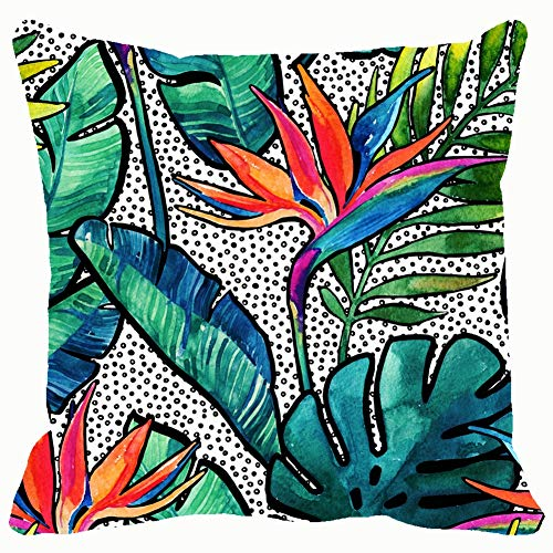 best & Watercolor Tropical Leaves Flowers Contour Seamless The Arts Seamless The Arts Nature Seamless Nature Throw Pillows Covers Cushion Case Pillowcase Home Sofa Couch 18 x 18 Inches Pillowslips
