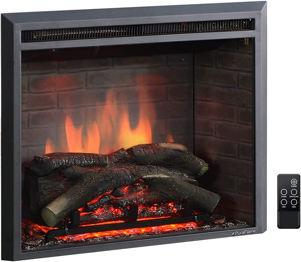 PuraFlame Western Electric Fireplace Insert with Fire Crackling Sound, Remote Control, 750/1500W, Black, 25 63/64 Inches Wide, 23 3/16 Inches High