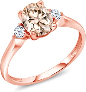 1.10 Ct Oval Peach Morganite White Created Sapphire 10K Rose Gold Ring