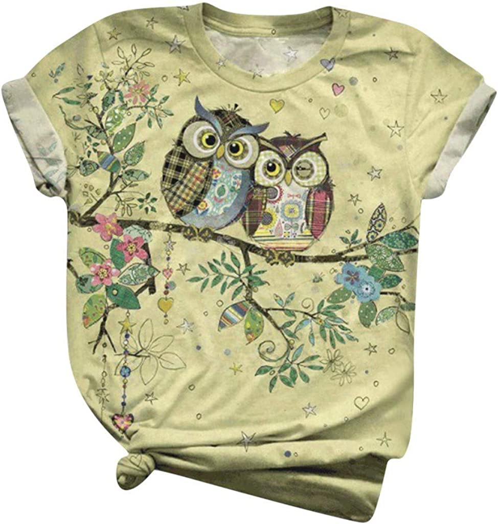 Womens Short Sleeve Tops, naioewe Bird 3D Animal Print Shirts for Women Casual O-Neck T Shirt Blouses Tops Graphic Tees