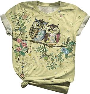 Womens Tops Short Sleeve Summer Crewneck Cute Owl...