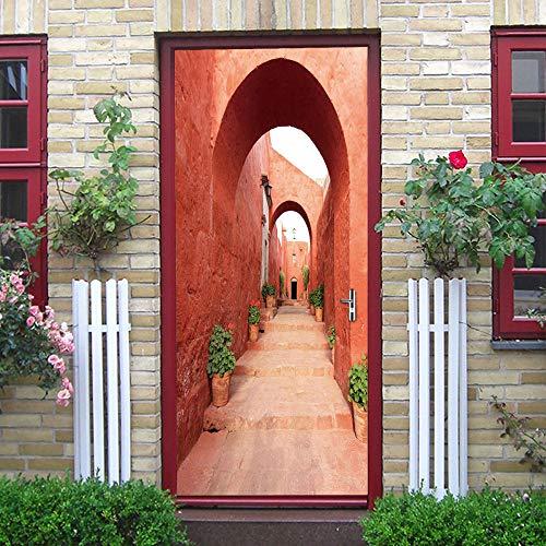 3d Pegatina Puerta Pvc Puerta Autoadhesivo DecoracióN De Hogar Arte Moderno Puerta Mural Diy Impermeable Puerta Pegatina Para Cocina,SalóN,Dormitorio,Cuarto De BañO 77x200cm
