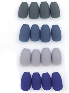 Laza 96 Pcs Colorful Fake Nails 4 Pack Olive Sapphire Misty Grey Full Cover Coffin Medium Ballet Matte Artificial Acrylic Nails - Peacock Blue (No Glue Included)