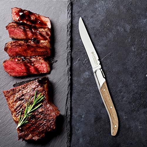 [Set of 6]Steak Knives, Hailingshan Stainless Steel Straight Blade Sharp Premium Gift Boxed Dishwasher Safe Mirror Polishing Table Dinner Cutlery Flatware Laguiole Steak Knives 22cm-Oak Wood Handle