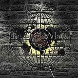 Baby Musik Nachtlicht 1 Weltkarte Globus Zeichen Schallplatte Wanduhr mit LED Hintergrundbeleuchtung Globus Karte Dekoration Wandleuchte Bildung Student Geschenk Keramik Tischlampe Groß