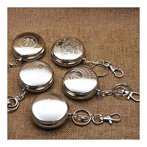 JINSUO Yiyuntian Ashtray-with Key Chain 1Pcs Cigarette Supplies Portable Mini Stainless Steel Cigarette Ashtray Silver Smoking Accessories Round Shaped (Color : Random Pattern)