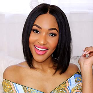 TUNEFUL Short Bob Wigs Brazilian Straight Human Hair lace Front Wigs for Black Women 130% Density Pre Plucked with Baby Hair Natural Color (8 Inch, Straight Bob Wigs)