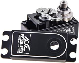 AGFrc 14.5KG Digital Low-Profile Steering-Servo - High Torque Brushless RC Servo Full CNC Case Metal Gear for 1/10 1/8 RC Car Heli (A62BLS(Black))