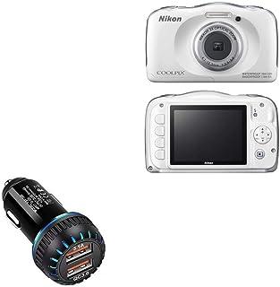 Carregador de carro Nikon Coolpix S33, BoxWave [Carregador duplo QC3.0] Carregador duplo para carregamento rápido multidis...