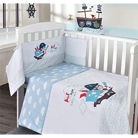 My Little World Nursery Blue Pirate Baby Boy Bale Bedding Set Printed Cot Quilt Bumper And Fitted Sheet Set Nursery Baby Cot Bed Set Amazon Co Uk Kitchen Home