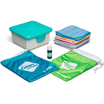 Cheeky Wipes Reusable Hands & Face Kit – 25 Washable Rainbow Micro Fibre Baby Wipes, 15x15cm, Fresh Wipes Storage Container, Fresh Travel Bag & Mucky Wipes Bag, Includes Fresh Essential Oil Baby Wipes Soaking Solution (10ml)