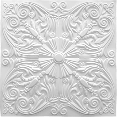 Art3d Decorative Ceiling Tile 2x2 Glue up, Lay in Ceiling Tile 24x24 Pack of 12pcs Spanish Floral in Matt White
