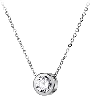 Stainless Steel Round CZ Solitaire Sparkly Bezel Pendant Necklace