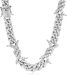 PY Bling 10mm Hip Hop Fashion Iced Out 18K/White Gold Plated Barbwire Cuban Link Chain Choker Prong Setting VVS Lab Diamon...