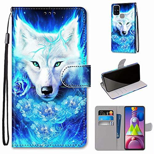 Miagon Flip PU Leder Schutzhülle für Samsung Galaxy M51,Bunt Muster Hülle Brieftasche Case Cover Ständer mit Kartenfächer Trageschlaufe,Rose Wolf