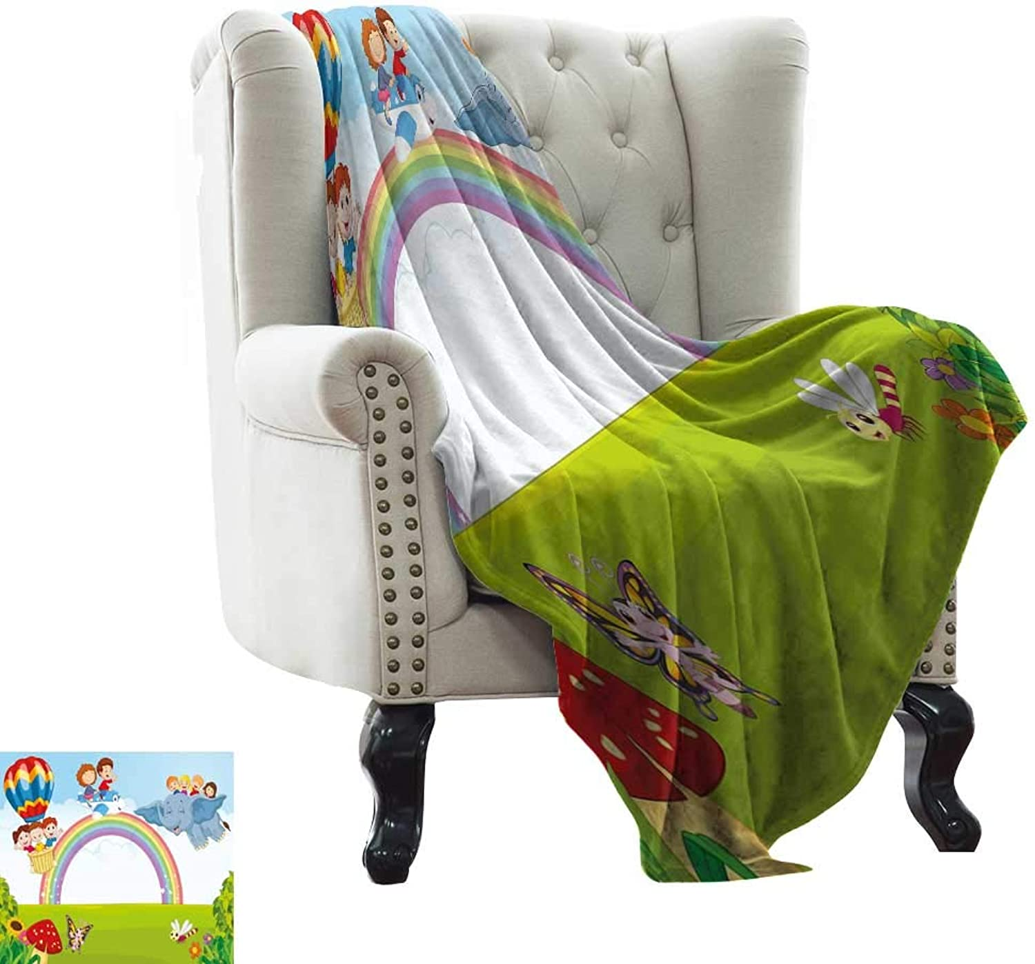 WinfreyDecor Decorative Throw Blanket Cartoon Kids Flying on Baloon Plane and Elephant with Green Field and a Rainbow Home, Couch, Outdoor, Travel Use 50  Wx60 L