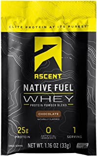 Ascent Native Fuel Whey Protein Powder - Chocolate - 15 Single Serving Packets